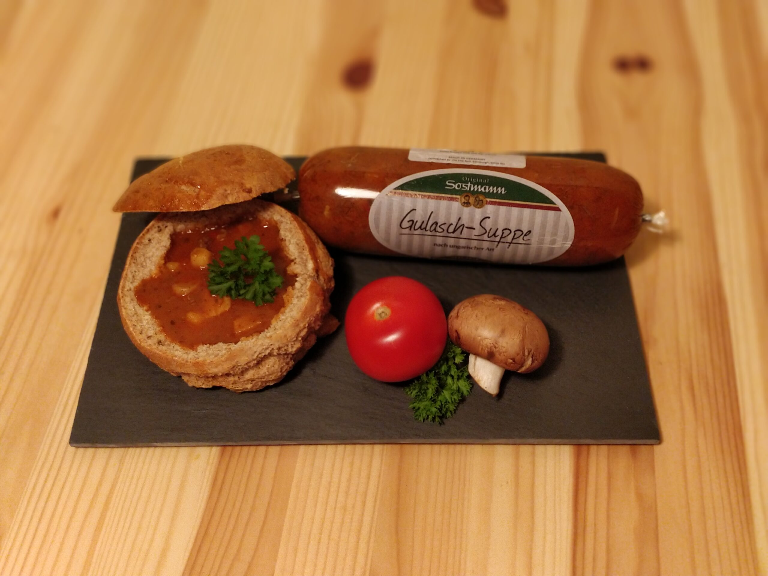 Goulash Soup in bread bowl